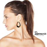 Celluloid Teardrop Hoop Dangle Earrings (Tortoise)