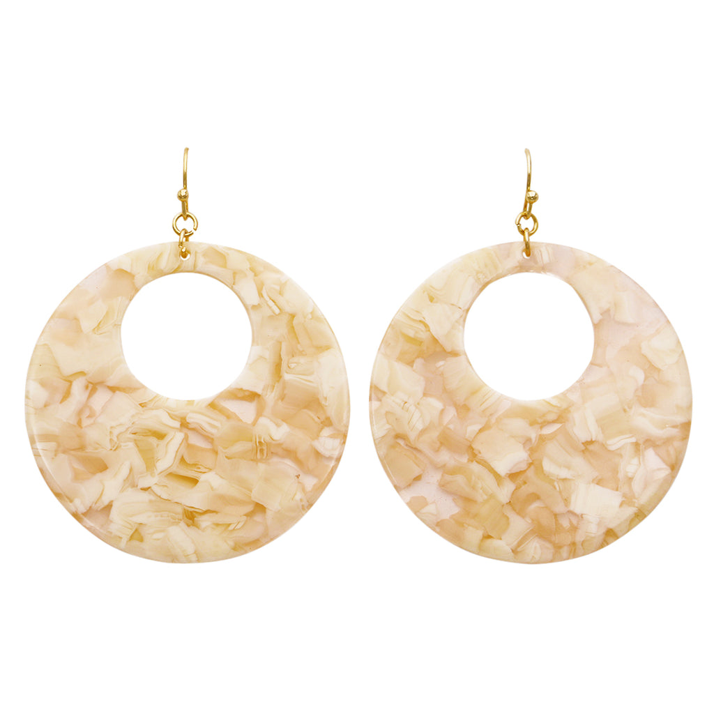 Lucite Disc Dangle Ivory Earrings