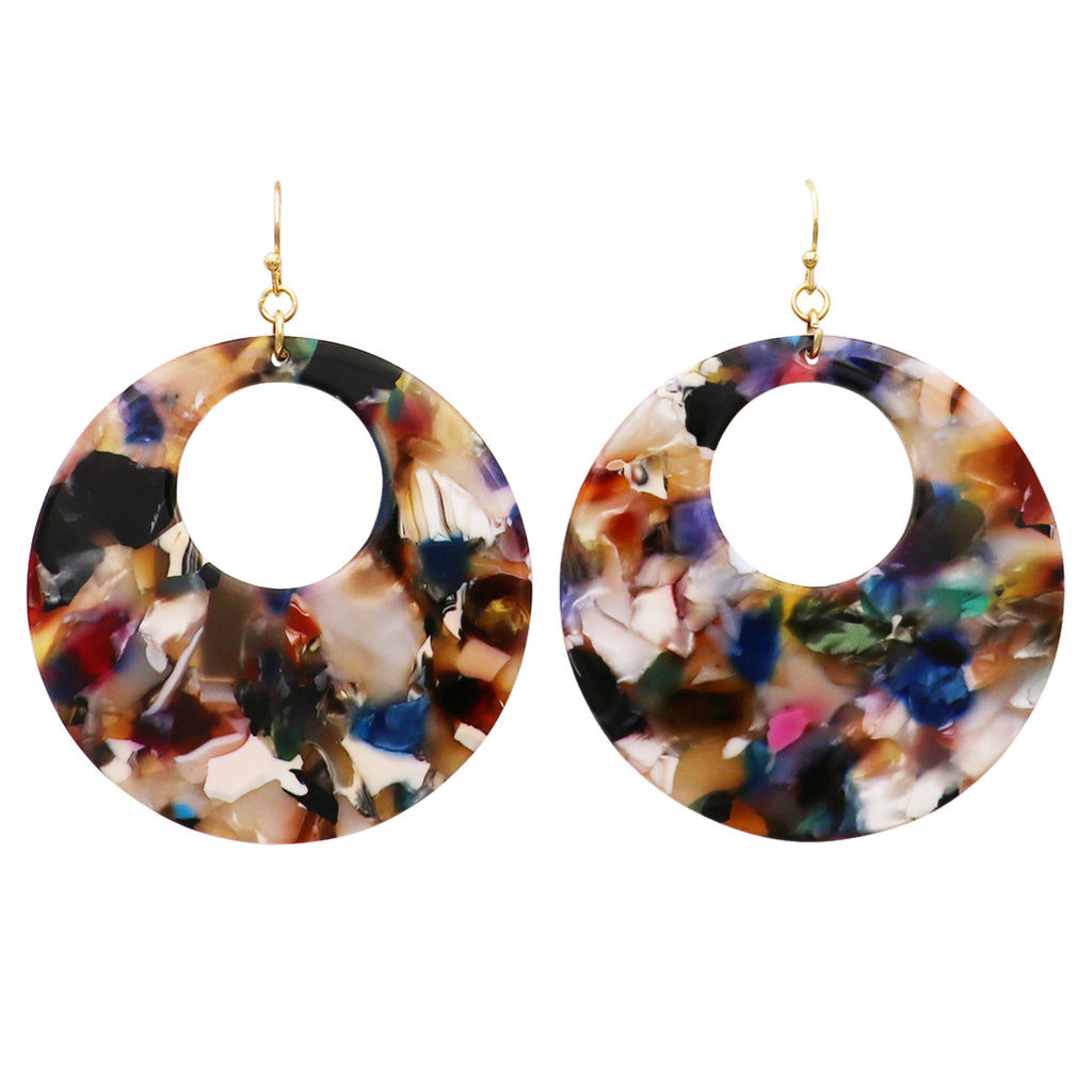 Lucite Disc Dangle Blue Multi color Earrings