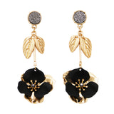 Druzy Stone and Dangle Vertical Bar Flower Long Drop Earrings (Black)