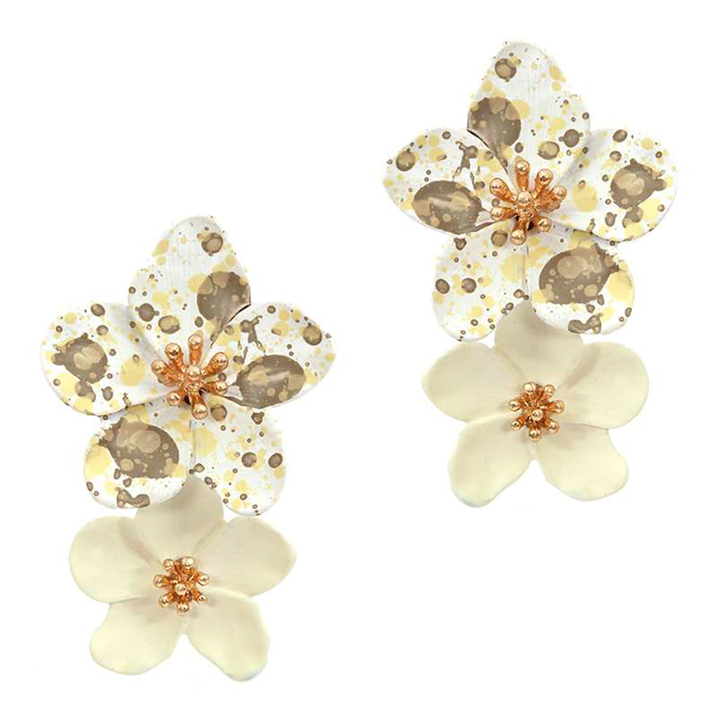 Double Metal Flower Dangle Drop Statement Post Earrings (Cream/spotted) 1.5 inches
