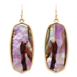 Statement Natural Shell Baroque Dangle Earrings (Purple Abalone)