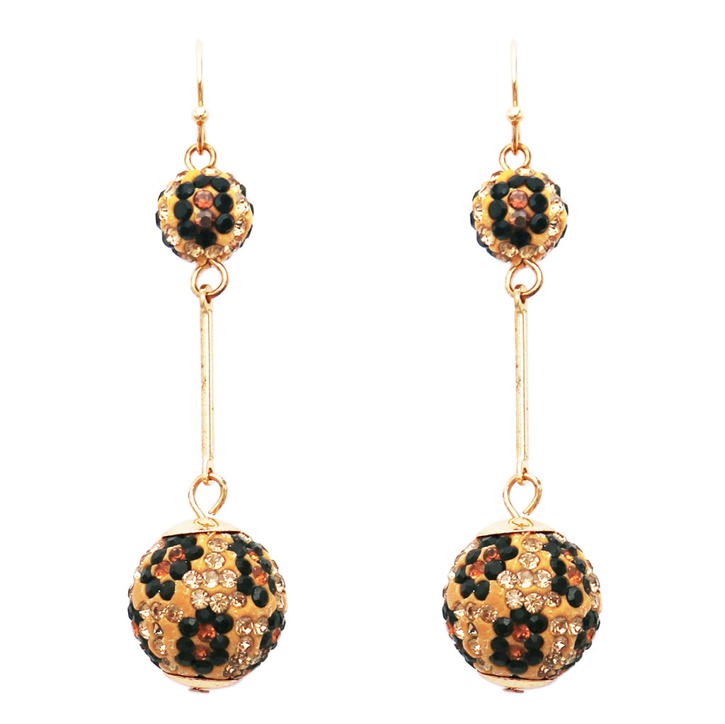 Dangle Wild Animal Leopard Print Crystal Double Ball Bar Drop Earrings