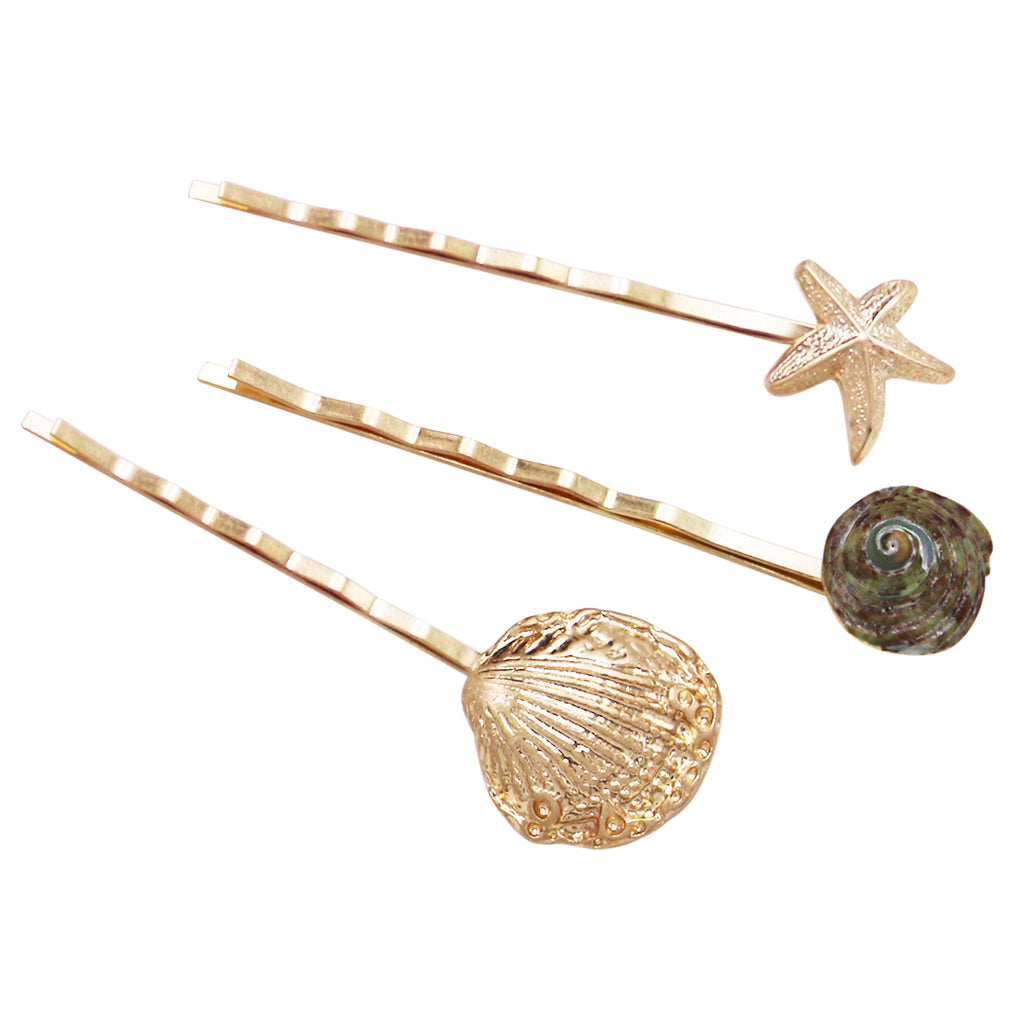 Under The Sea Set of 3 Hair Clip Bobby Pins Hair Barrette Accessories Shell Starfish Natural Seashell