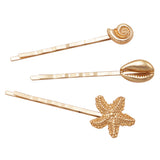 Sea Life Set of 3 Hair Clip Bobby Pins Hair Barrette Accessories Starfish and Seashells (Gold Tone)