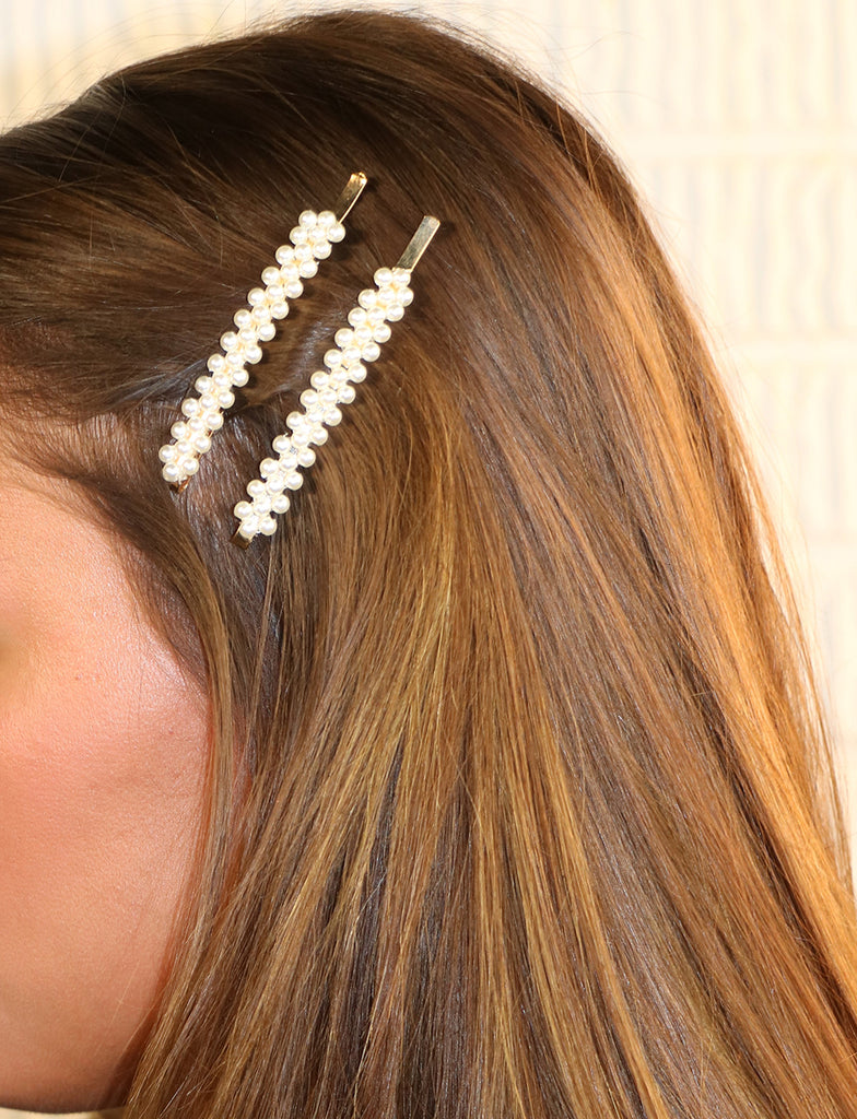 Hair Clip Long Length Bobby Pins Hair Accessories 3 Rows of Simulated Pearl