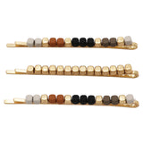 Set of 3 Beaded Hair Clip Bobby Pins Hair Barrette Accessories (Black/Tan/Grey)
