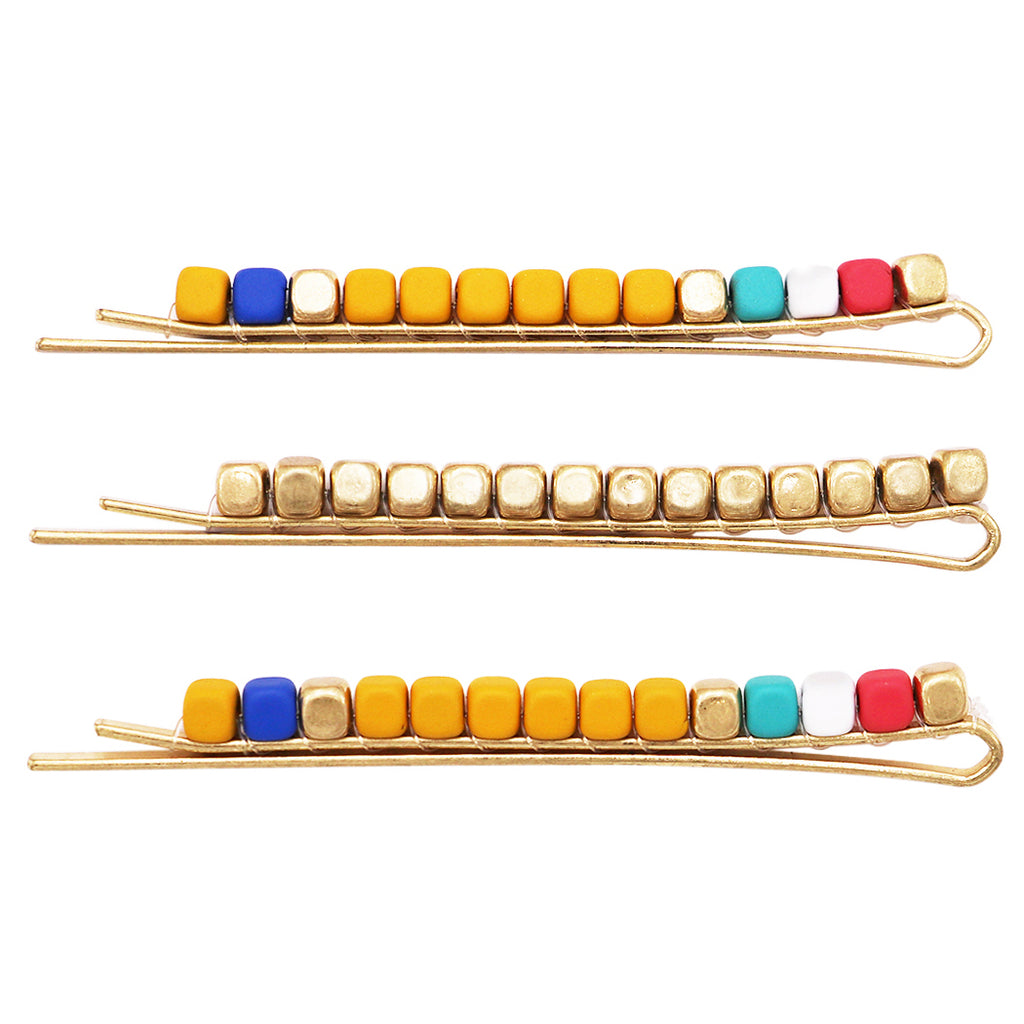 Set of 3 Beaded Hair Clip Bobby Pins Hair Barrette Accessories (Yellow/Blue/Red)