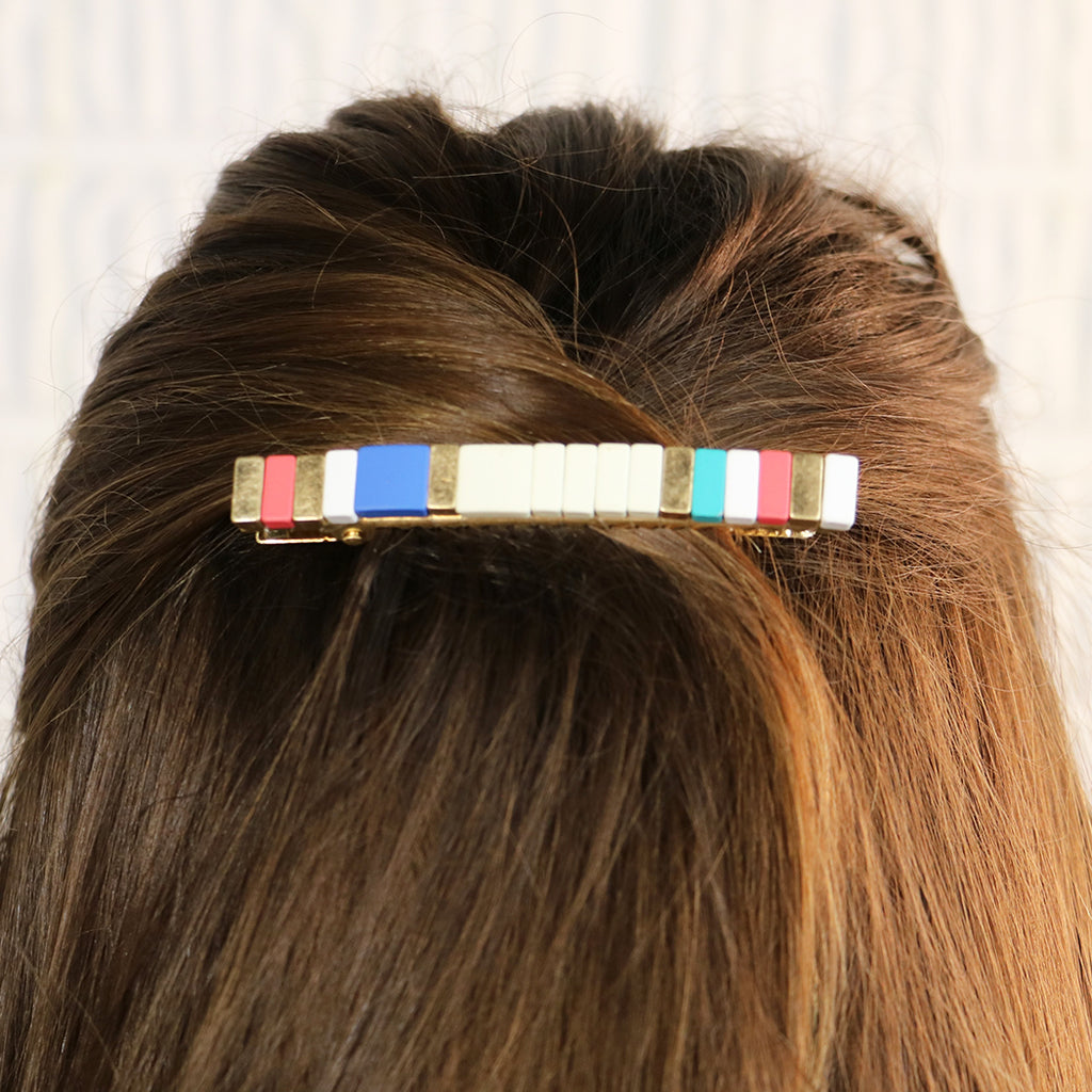 Large Alligator Hair Clip Enamel Coated Beaded Fashion Trending Barrette Hair Accessories