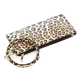 Women's Vegan Leather Leopard Print Bangle Bracelet with Clutch Wristlet Phone Holder Key Chain Ring Clip Holder