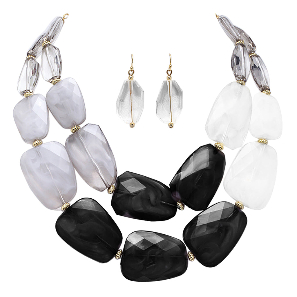 "Ombre Polished Resin Statement Black White and Clear Necklace Earring Jewelry Set 16"" with 3"" Extender"