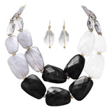 Ombre Polished Resin Statement Black White and Clear Necklace Earring Jewelry Set 16