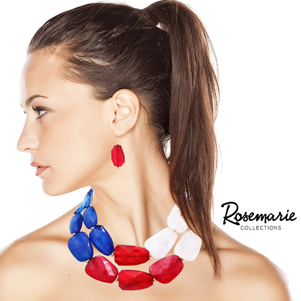 Red White and Blue Ombre Polished Resin Statement Necklace Earring Set (Red White & Blue)