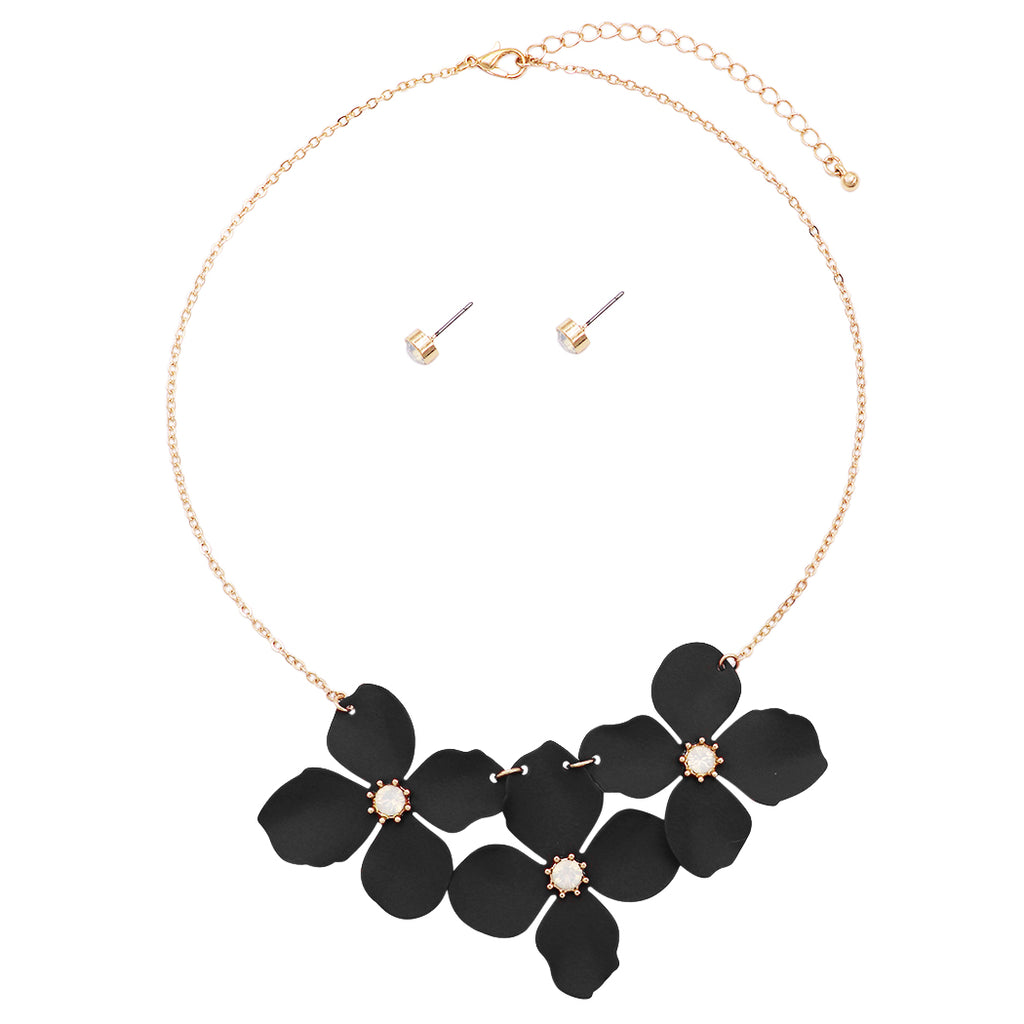 "Metal Flower Collar Necklace, 15""-18"" with 3"" extender (Black)"