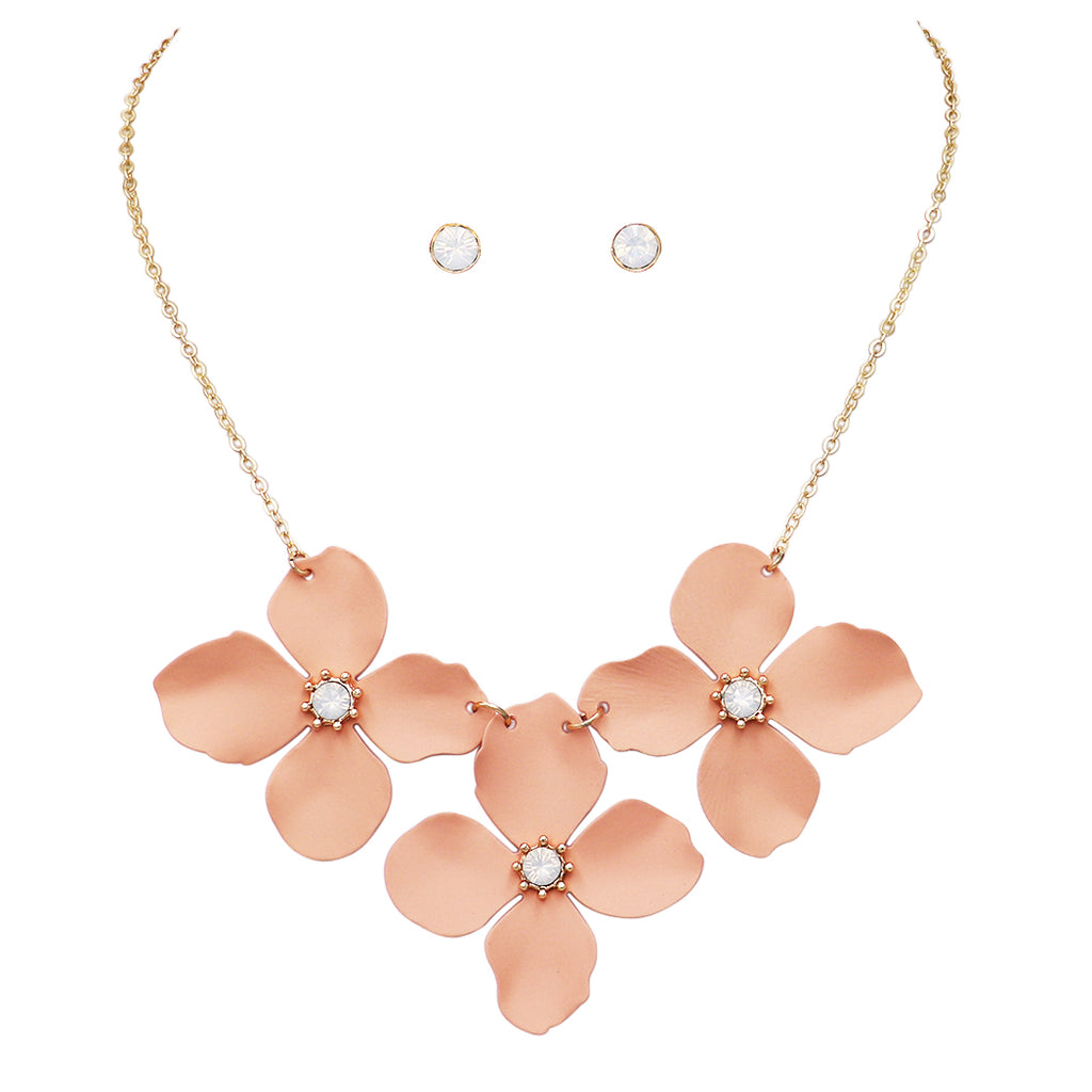 "Women's Metal Multi Flower Collar Necklace, 15""-18"" with 3"" extender (Warm Pink)"