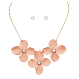 Women's Metal Multi Flower Collar Necklace, 15