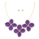 Metal Flower Collar Necklace (Purple)