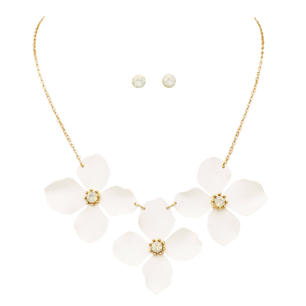"Women's Powder Coated Metal Flower Collar Necklace Earrings Set, 15""-18"" with 3"" Extender"