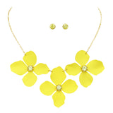 Metal Flower Collar Necklace (Yellow)