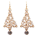 Gold Tone Holiday Christmas Tree with Glass Crystal Rhinestones Earrings (Dangle Christmas Tree Earrings Only) 2 inches
