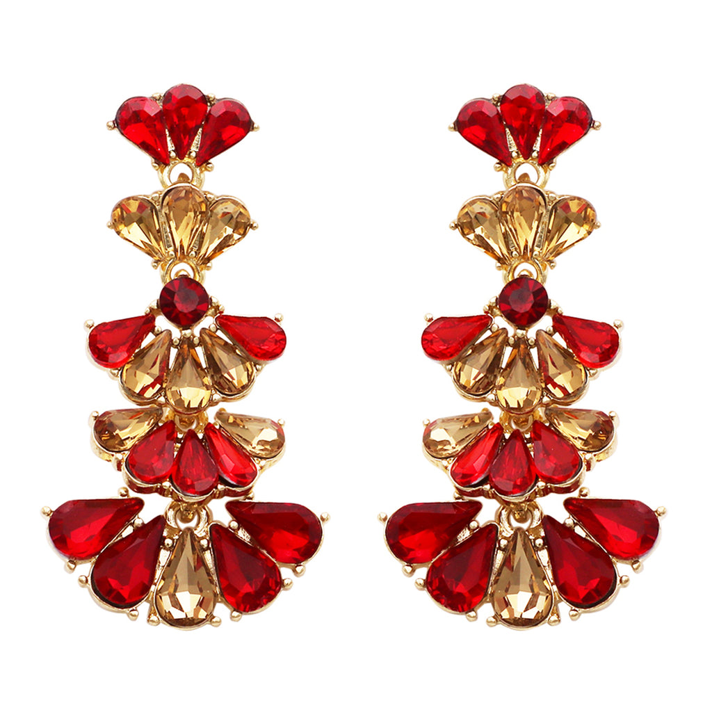 Fashion Jewelry Vintage Style Fan Crystal Drop Earrings