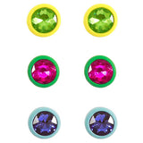 Set of 3 Color Coated Fashion Trending Stud Colorful Crystal Earrings 10mm