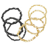 Two Tone Color Stacking Statement Stretch Bracelet Set of 7 (Two Toned-Hematite/Gold)