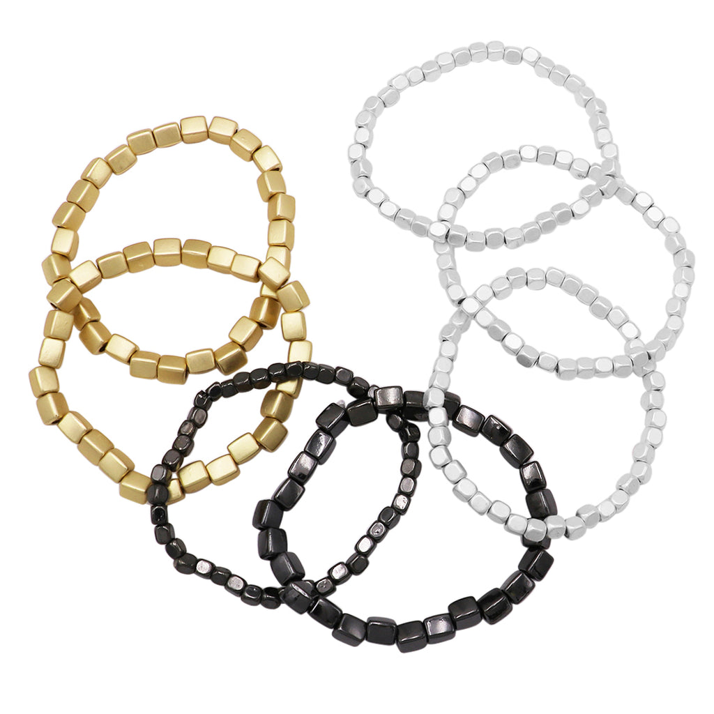 Stacking Statement Stretch Bracelet Set of 7 (Tri Tone-Silver/Gold/Hematite)