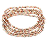 Tri Tone Beaded Stretch Bracelet Set of 5 (Rose Gold/Gold/Silver Tone)