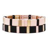 Women's Powder Coated Stacking Statement Stretch Color Block Bracelet Set of 2