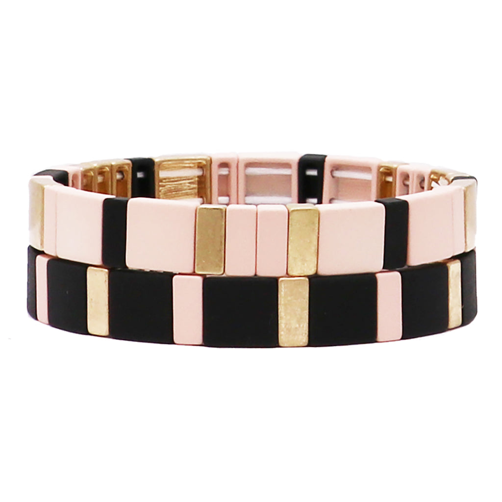 Powder Coated Stacking Statement Stretch Color Block Bracelet Set of 2
