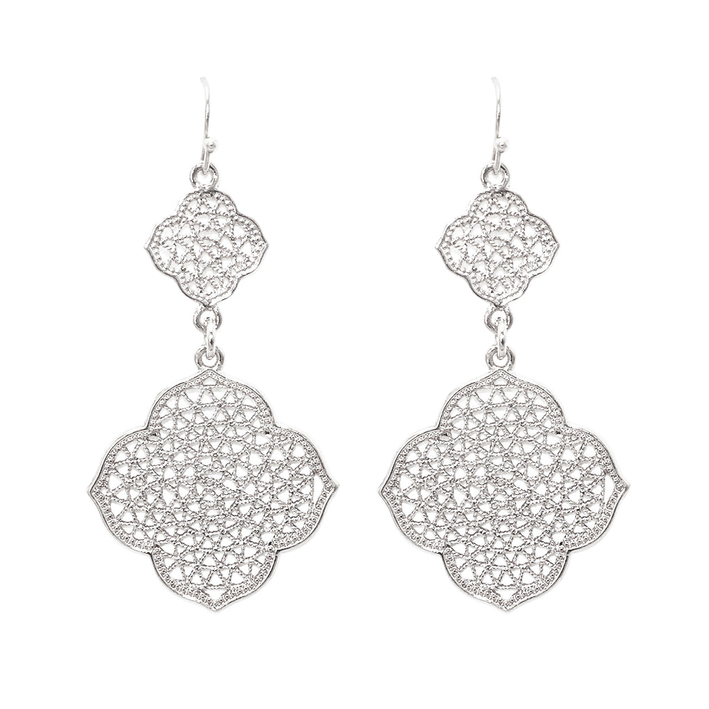 Double Moroccan Filigree Fashion Dangle Earrings (Silver)