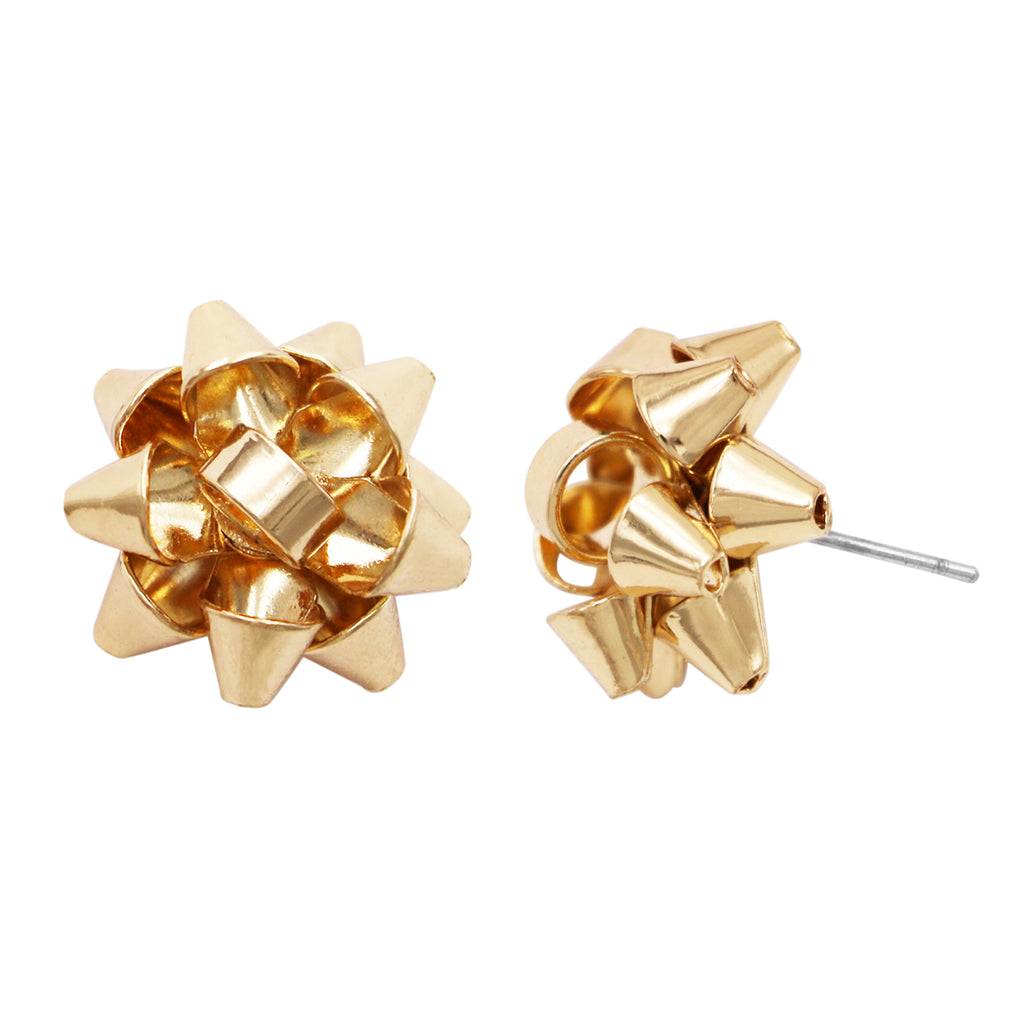 Holiday Christmas Celebration Bow Post Earrings (Gold)