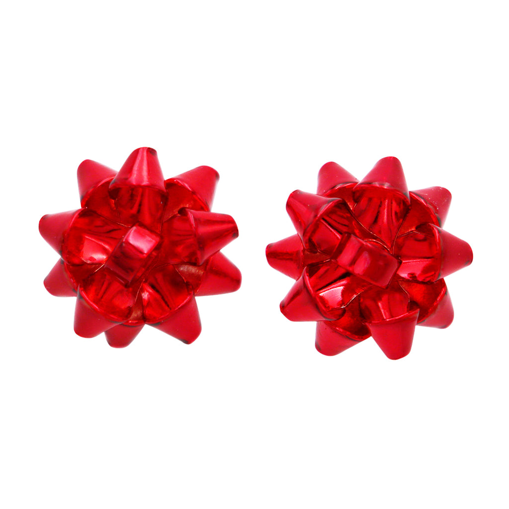 Holiday Bright Red Christmas Bow Stud Earrings