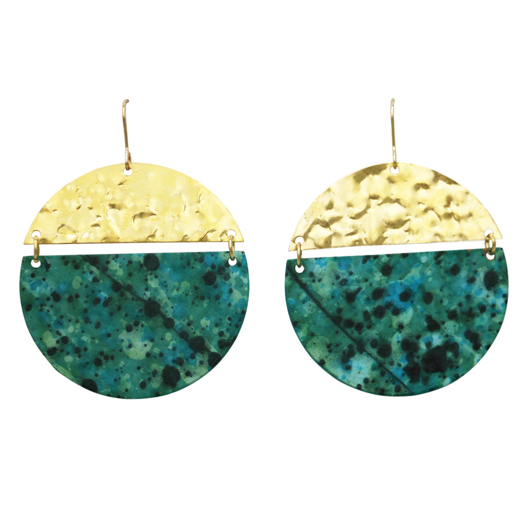 Geometric Two-Toned Hammered Metal Disc Drop Earrings