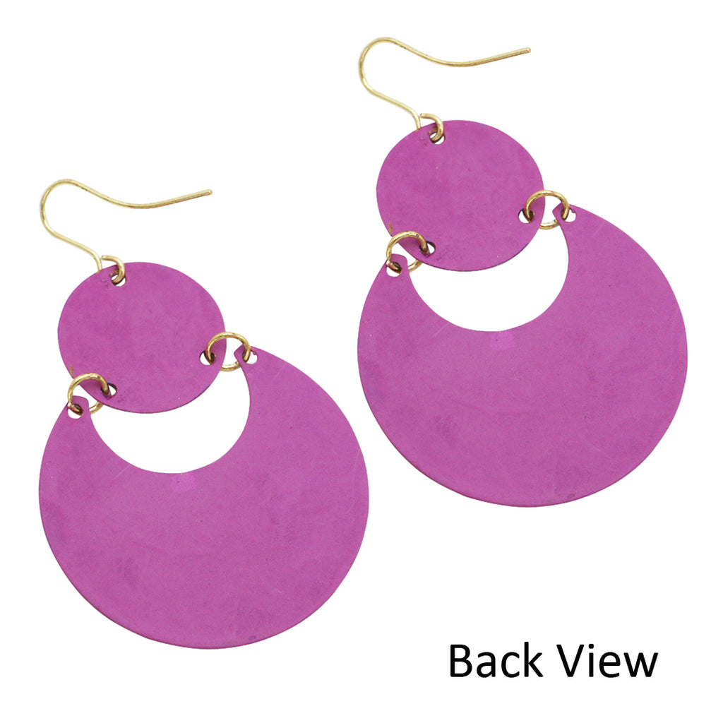 Lightweight Multi color Round Metal Double Disc Dangle Drop Earrings