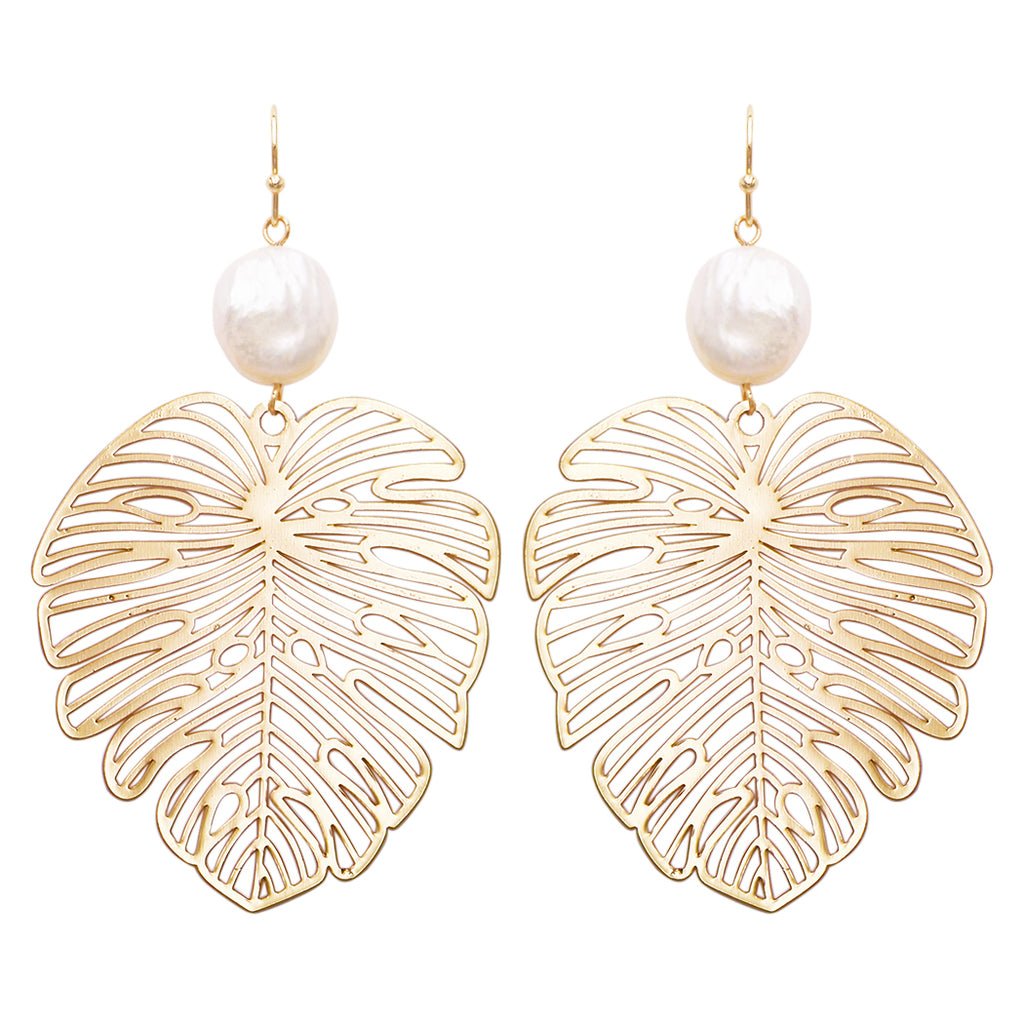 Women's Statement Gold Tone Filigree Leaf With Fresh Water Pearl Dangle Earrings, 3""