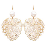 Women's Statement Gold Tone Filigree Leaf With Fresh Water Pearl Dangle Earrings, 3