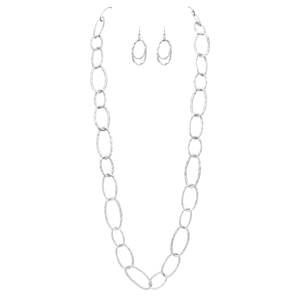 Contemporary Hammered Links Statement Necklace and Earrings Set (Matte Silver Tone)