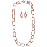 Long Hammered Links Statement Necklace and Earrings Gift Set (Rose Gold Tone)