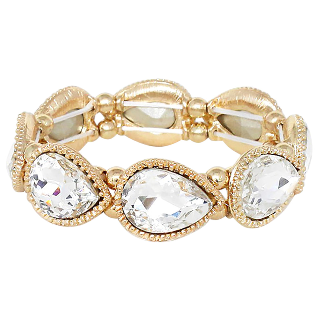 Classic Teardrop Rhinestone Adjustable Stretch Bracelet