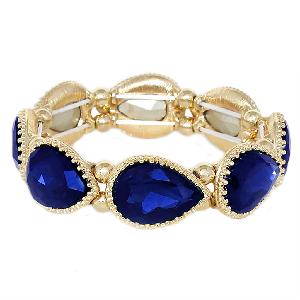 Fashion Jewelry Fireworks Sparkle 4th of July Elegant Rhinestone Bracelet (Blue)