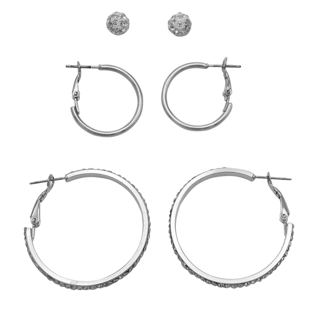 3 Pairs Classic Hoop and Ball Stud Earring Set (Silver Tone)