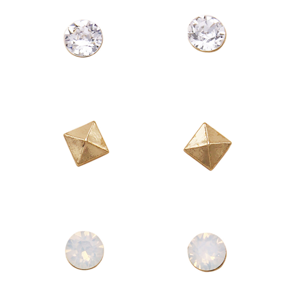 3 Pairs Pretty 7mm Stud Earrings Made with Swarovski Crystals (Gold Pyramid)