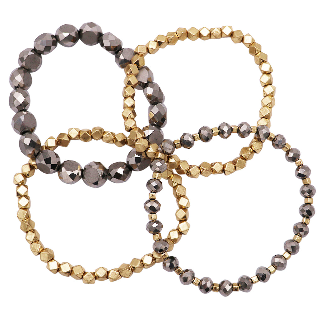 Chunky Nugget Two Tone Stacking Statement Stretch Bracelet Set of 4