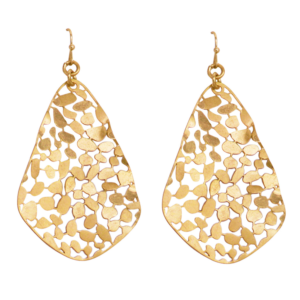 Large Wavy Teardrop Filigree Dangle Earrings (Gold Tone)