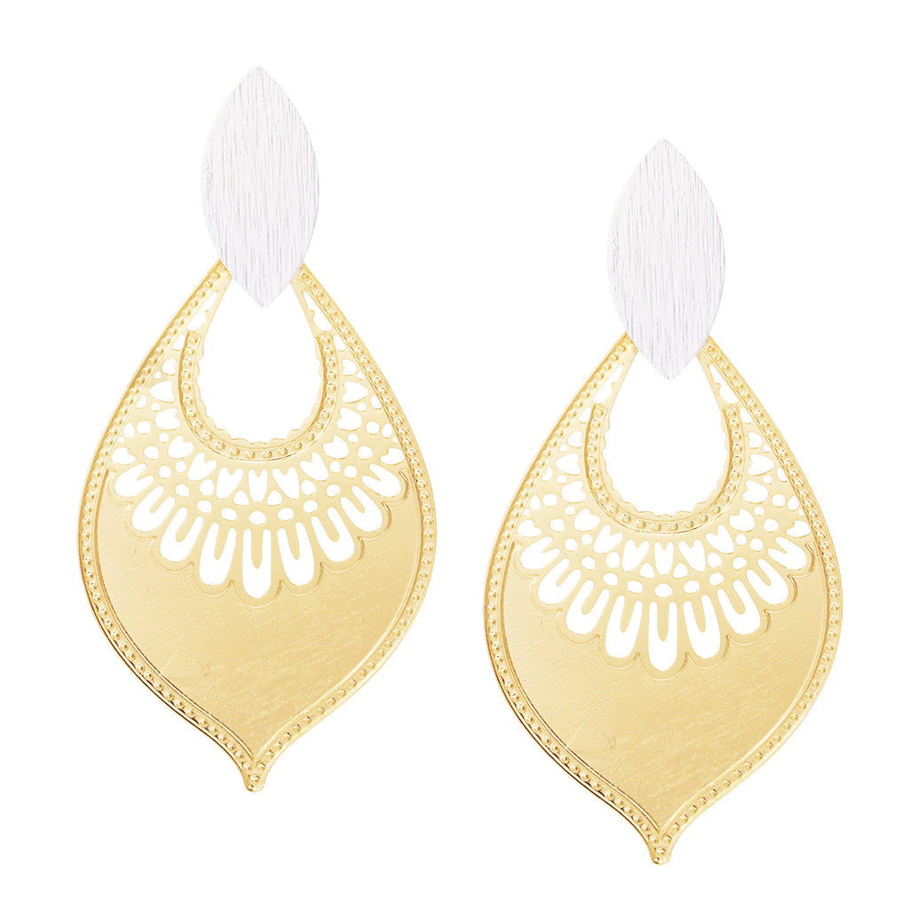 Two Tone Moroccan Filigree Statement Dangle Earrings