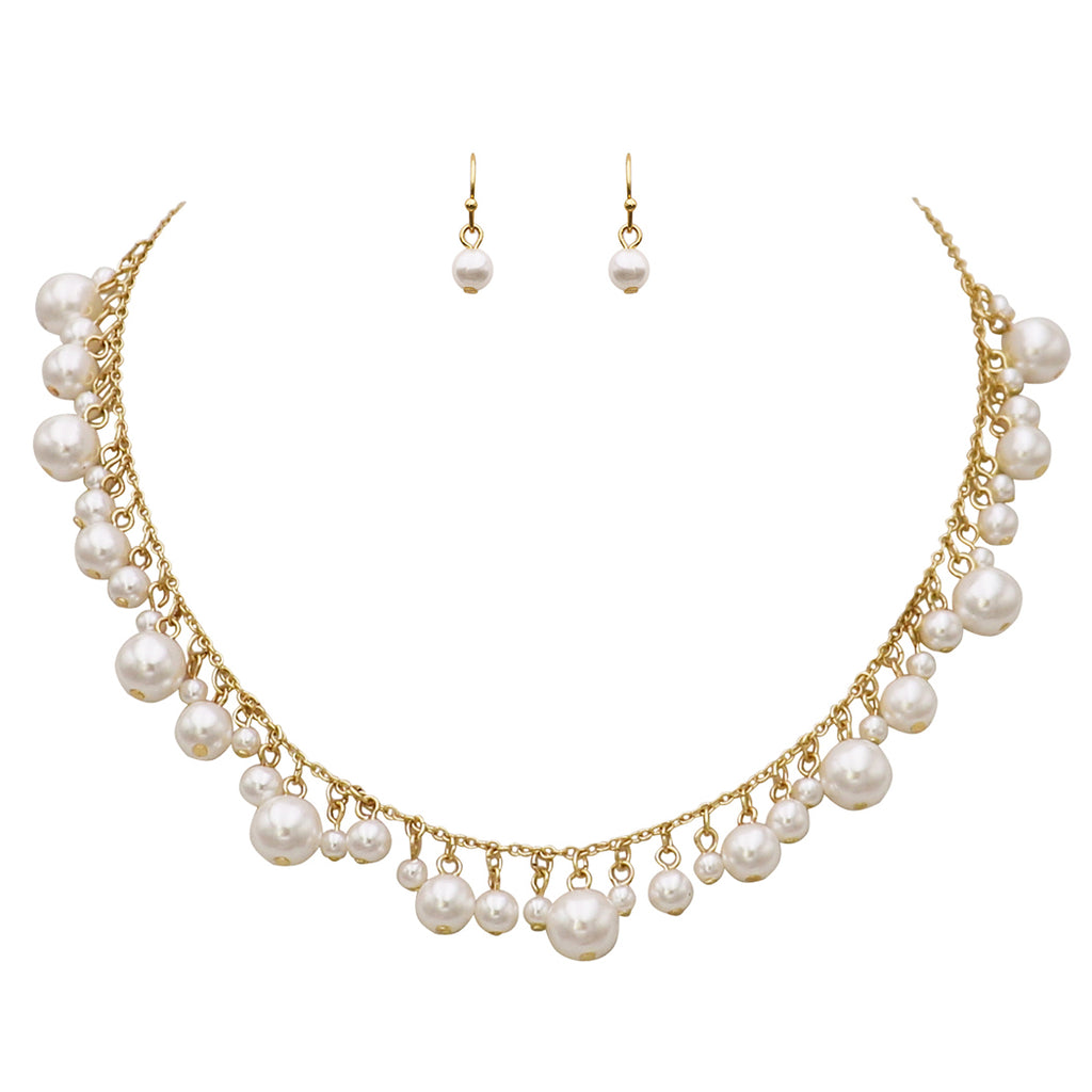 Adjustable White Faux Pearl Fringe Necklace and Earrings Jewelry Gift Set