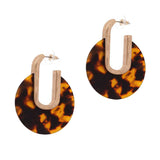 Tortoise Celluloid and Metal Disc Dangle Earrings