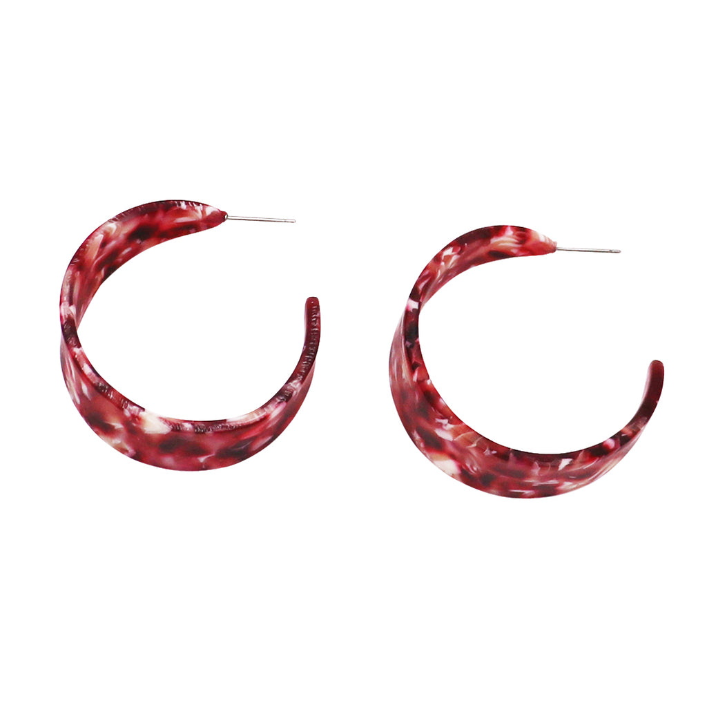 Chunky Lucite Hoop Statement Earrings (Red)